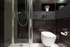 Tuiles noires à la salle de bains Images stock