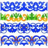 Tuiles portugaises d'azulejo Frontière sans couture de modèle d'aquarelle Image libre de droits