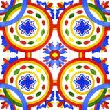 Tuiles portugaises d'azulejo Modèle sans couture d'aquarelle Images libres de droits