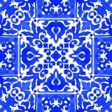Tuiles portugaises d'azulejo Modèle sans couture d'aquarelle Photo libre de droits