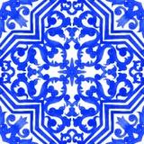 Tuiles portugaises d'azulejo Modèle sans couture d'aquarelle Photos stock