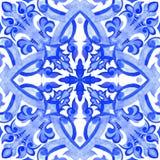 Tuiles portugaises d'azulejo Modèle sans couture d'aquarelle Image stock