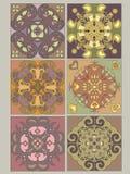 Tuiles réglées avec les configurations décoratives de cru Photographie stock
