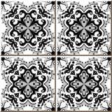 Tuiles sans couture de mur de vintage de fleur en spirale grise noire, Marocain, portugais Photographie stock libre de droits