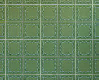 Tuiles vertes nostalgiques de mur des années '70 Photographie stock