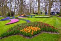 Tuilps und andere Blumen in Keukenhof parken, Lisse, Holland, die Niederlande Stockfotos