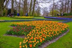 Tuilps und andere Blumen in Keukenhof parken, Lisse, Holland, die Niederlande Lizenzfreie Stockfotos