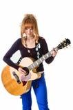 Tuimelschakelaar met akoestische gitaar Royalty-vrije Stock Foto's
