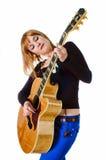 Tuimelschakelaar met akoestische gitaar Stock Afbeeldingen
