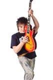 Tuimelschakelaar met elektrische gitaar Stock Foto's