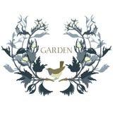 Tuin bloemenkader met een vogel Geïsoleerd voorwerp vector illustratie