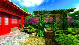 Tuin in Chinese stijl en installaties het 3d teruggeven Stock Foto