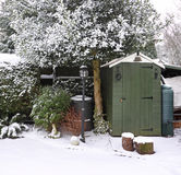 Tuin in de Sneeuw Stock Foto's