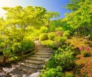 Tuin dichtbij Tempel Tenryu -tenryu-ji in Kyoto, Japan Royalty-vrije Stock Foto