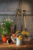 Tuin die met hulpmiddelen en potten wordt afgeworpen Royalty-vrije Stock Foto's
