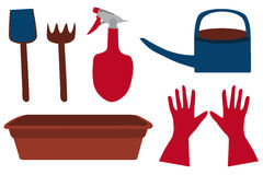 Tuin heldere reeks: schop, hark, sproeier, gieter, handschoenen en installatiedienblad, vector Stock Afbeelding