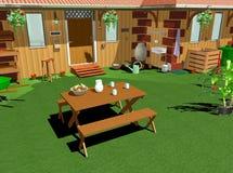 Tuin-lunch-3D het Huis van het land Stock Foto