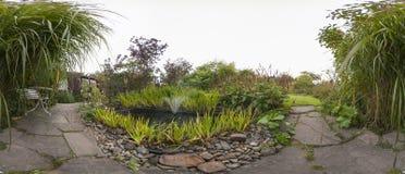 Tuin met een vijver Stock Afbeelding