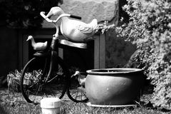 Tuin met fiets Stock Foto