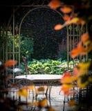 Tuin met stoelen en een lijst in het midden van struiken in kleur stock foto's