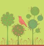 Tuin met vogel Stock Afbeeldingen