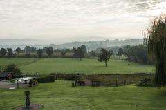 Tuin met zwembadpaarden en heuvels Royalty-vrije Stock Afbeelding