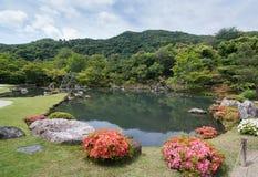 Tuin Tenryu -tenryu-ji in de zomer Kyoto, Japan royalty-vrije stock afbeelding