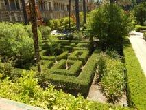 Tuin van Alcazar op Sevilla stock afbeeldingen