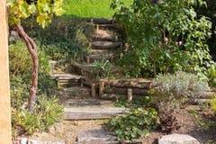 tuin van het zuiden de Duitse plattelandshuisje Stock Foto