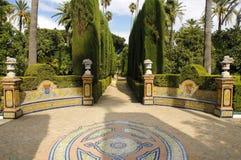 Tuin van Koninklijke Alcazar in Sevilla, Spanje Stock Afbeeldingen