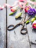 Tuinbloemen met schaar, roze lint op oude blauwe lijst stock foto