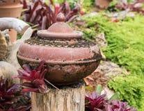 Tuindecoratie door aardewerkkruik, aardewerkwaterkruik Stock Foto's