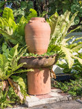 Tuindecoratie door aardewerkkruik, aardewerkwaterkruik Stock Foto