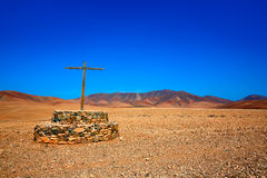 Tuineje cross in Fuerteventura at Canary Islands Royalty Free Stock Photo