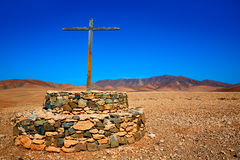 Tuineje cross in Fuerteventura at Canary Islands Royalty Free Stock Image