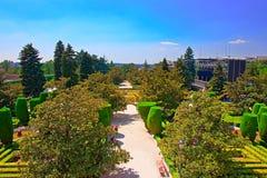 Tuinen bij Retiro-Park in Madrid Spanje stock afbeeldingen