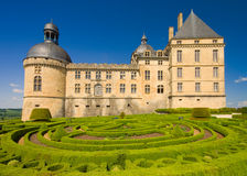 Tuinen en Château DE Hautefort, Périgord Stock Afbeelding