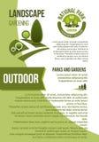 Tuinen en parken de vectoraffiche van het landschapsontwerp Royalty-vrije Stock Afbeelding