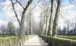 Tuinen van de stad van Aranjuez, in Spanje wordt gevestigd dat Steenpaleis stock fotografie