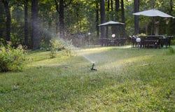 Tuingazon het water geven systeem Royalty-vrije Stock Fotografie