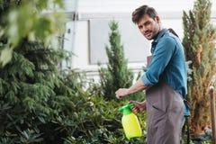 Tuinman het bespuiten plant terwijl het werken in tuin Stock Foto's