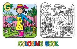 Tuinman kleurend boek Alfabet G Beroep ABC Stock Afbeelding