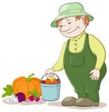 Tuinman met groenten Royalty-vrije Stock Afbeeldingen