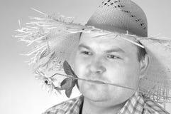 Tuinman met zonnebloem royalty-vrije stock afbeeldingen
