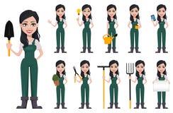 Tuinmanvrouw, beeldverhaalkarakter in eenvormig Stock Fotografie