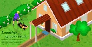 Tuinmateriaal Grasmaaimachineconcept Vector royalty-vrije illustratie