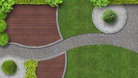 Tuinontwerp in hoogste mening met terras stock afbeelding