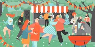 Tuinpartij met mensen die en wijn drinken dansen Beeldverhaalkarakters die pret hebben bij een barbecuepartij vector illustratie