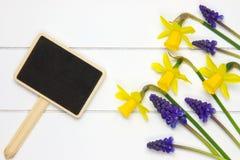 Tuinteken op houten oppervlakte en de lentebloemen royalty-vrije stock foto