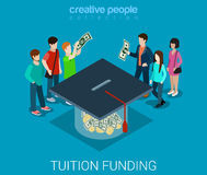 Tuition fee web crowd funding graduate flat 3d isometric vector. Tuition fee web crowd funding platform volunteer concept flat 3d isometric infographic. Group of Stock Photography